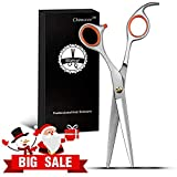"""Chimocee Professional Hair Scissors, 6.5"""" Barber and Salon Razor Edge Hair Cutting Shears with Fine Adjustment Tension Screw-Stainless Steel, Detachable Finger Rest With Black Gift Box"""