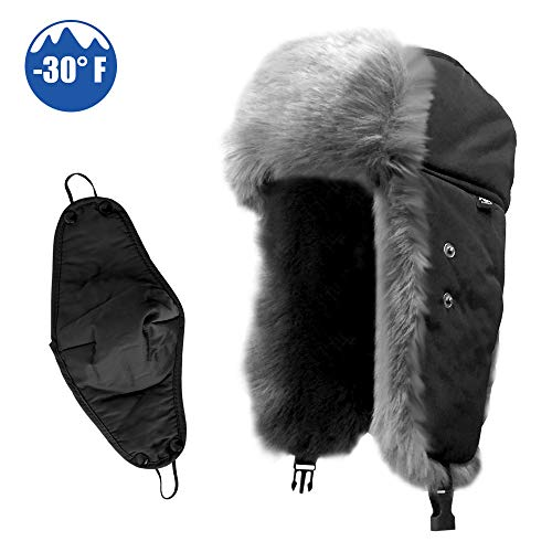 - IC ICLOVER Winter Trapper Hat with Ear Warmer, Russia Style Ski Bomber Cap with Chin Strap Ear Flap Faux Fur Windproof Mask Aviator Trooper Hat for Boys/Girls/Men/Women,Black