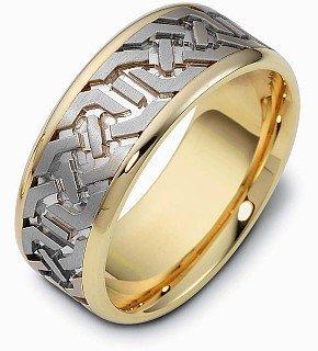 Titanium Ring Dora (8.5mm Wide Titanium & 18 Karat Yellow Gold Multi-Texture Wedding Band - 12.25)