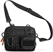 Fitdom Black Small Tactical Messenger Bag For Men. Multiple Ways to Carry as Sling, Shoulder, Crossbody, Waist