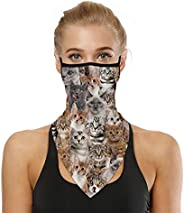 Sllrrka Face Bandana Neck Gaiter with Ear Loops, UV Sun Protection Reusable Triangle Mask Scarf Cycle Balaclav