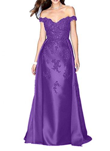 Damen Promkleider Glamout Lang V Lila Charmant Spitze Etuikleider Abendkleider Partykleider Ausschnitt 8d5Sq