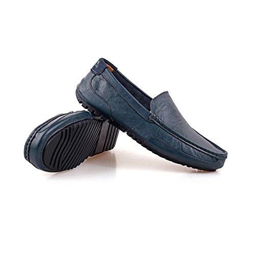 LYZGF Hommes Jeunes Printemps-Été Mode Décontractée Lazy Driving Chaussures En Cuir Blue h8EyyB4A