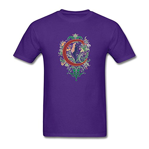 KkOmade Men's Letter C Logo Short Sleeve T-Shirt X-Large Purple ()