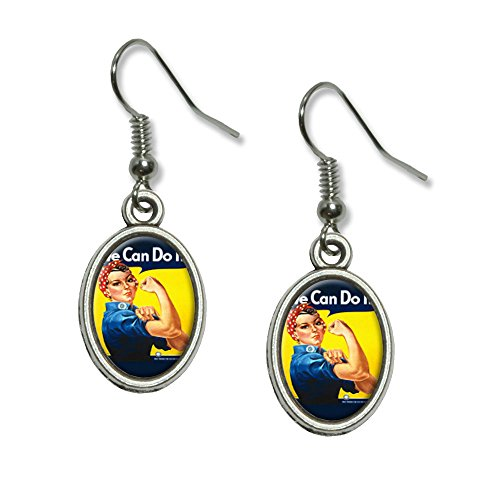 Riveter Costume (Rosie The Riveter - War Poster Novelty Dangling Drop Oval Charm Earrings)