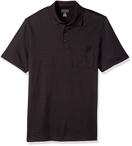 Van Heusen Men's Size Big and Tall Flex Jacquard Short Sleeve Stripe Polo Shirt, Black, 5X-Large