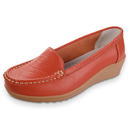 Orange Casual Loafers Driving Women's Leather Shoes Flat Slippers Labato Slip On Fv7xn5vwq