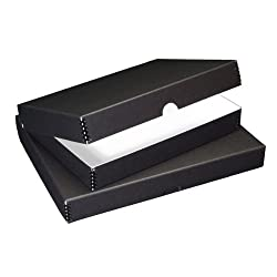 "Lineco 11x14"" Clamshell Folio Storage Box, 1.75"" Deep, Metal Edge Archival Boxboard, Removable Lid, Color: Black"