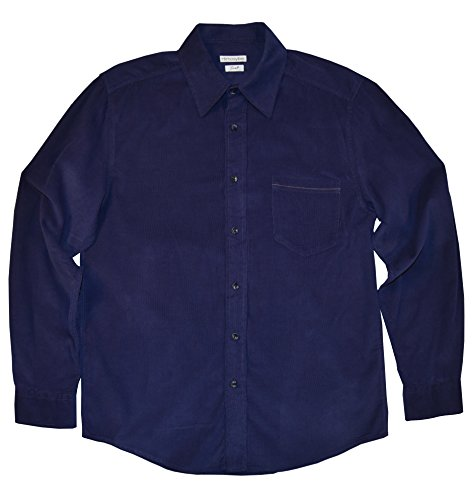 - Himosyber Men's Button Down Corduroy Shirt (Navy Blue, X-Small)
