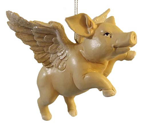 On Holiday Flying Pig with One Leg Up Christmas Tree Ornament