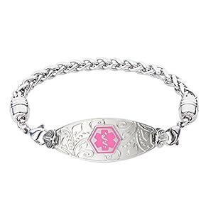 Divoti Deep Custom Laser Engraved Lovely Filigree Medical Alert Bracelet -Stainless Wheat-Pink