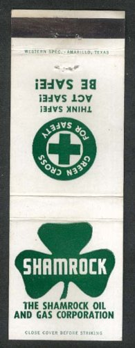Shamrock Oil & Gas Corporation Green Cros for Safety matchcover