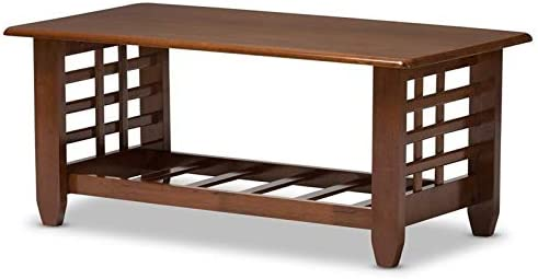 Baxton Studio Larissa Modern Classic Mission Style Living Room Occasional Coffee Table Cherry Brown/Contemporary