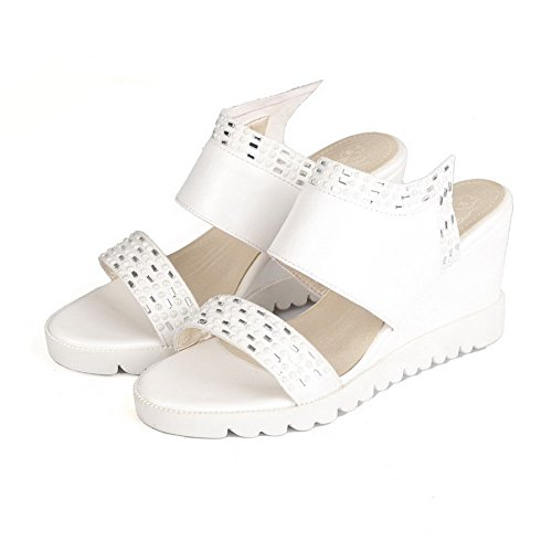 AllhqFashion Womens Pull-on High-Heels PU Solid Open Toe Sandals White CpgXP8