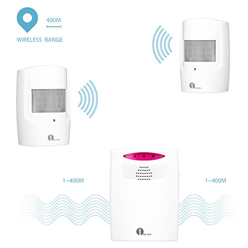 1byone Wireless Home Security Driveway Alarm, 1 Battery-operated Receiver and 2 PIR Motion Sensor Detector Weatherproof Patrol Infrared Alert System Kit by 1byone (Image #2)