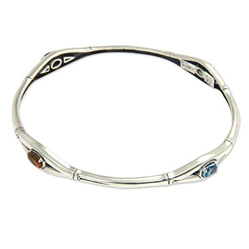 NOVICA Multi-Gem Citrine .925 Sterling Silver Cuff Bracelet, 7.5