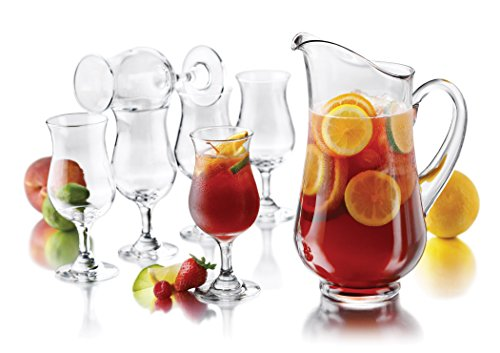 Libbey Modern Bar Sangria Entertaining Set with 6 Stemmed Glasses and Pitcher ()