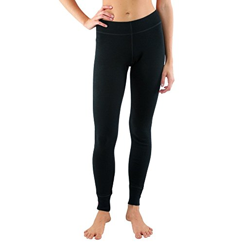 Woolx Avery - Women's Wool Leggings - Midweight Merino Base Layer Bottoms - Warm & Soft, Medium, Black