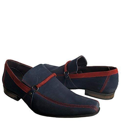 Shop Brunello's Blue and Red Recife Comfort Business Casual Leather Dress Shoes- Made in Brazil 9771-00