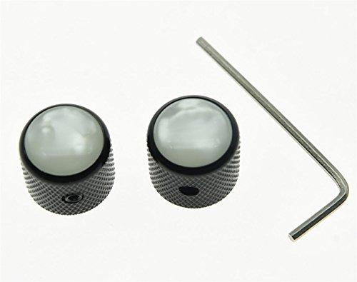 KAISH 2pcs Black with White Pearl Cap Guitar Dome Knobs for Tele Telecaster Set Screw Guitar Bass Knob