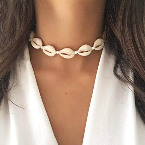 - Victray Boho Seashell Necklaces Summer Beach Knitted Choker Necklace Shell Braid Necklace Chain Jewelry for Women and Girls (Beige)