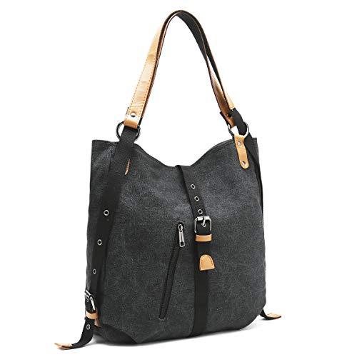 Canvas Backpack Rucksack, Vfevrs Fashion Handbags Shoulder Bag Multi Function for Women Ladies Grils, Large Capacity Black