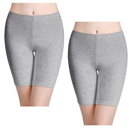 (wirarpa Women's 2 Pack Cotton Underwear Boy Shorts Under Dresses Long Leg Panties Anti Chafe Bloomers Bike Shorts Heather Grey Size 6)