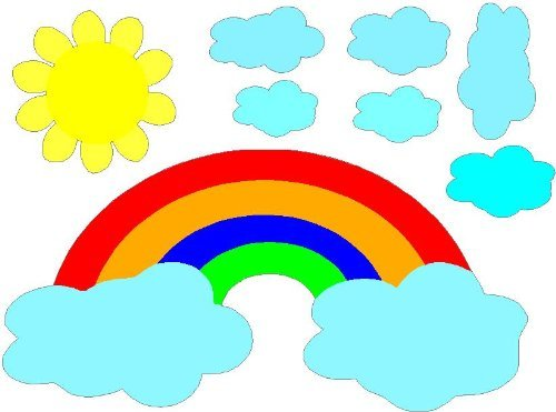COLOR Rainbow with clouds and sun (8 pcs) PEEL AND STICK removable / repositional wall art sayings quotes vinyl