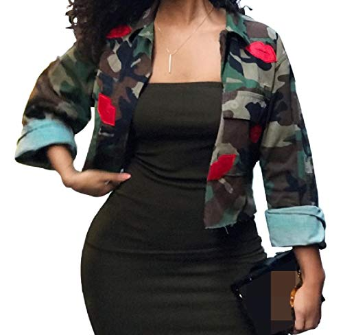 Camouflage Pocketed Women's Button Lapel Mini Short Outwear Energy Pattern1 Jacket nPcfSW7W