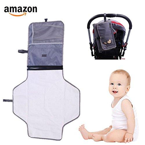 Cambiador portátil bebe, accesorio de viaje, impermeable, cambiador de pañales. (Gris)