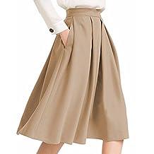 BIUBIU Women's High Waist Flared Skirt A Line Pleated Midi Skirt with Pockets