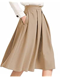 BIUBIU Women's High Waist Flared Skirt A Line Pleated Midi Skirt with Pockets
