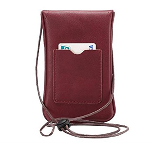 Handbag Wallet Bag Shoulder Mini Wine Leather YaJaMa Crossbody Pouch Cellphone Small Red 5SxA4Cq