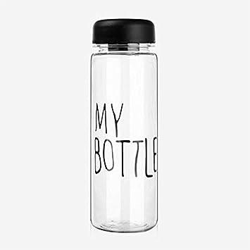 Belingeya My Bottle - Taza de plástico Transparente y Creativa para niños, Botella de Viaje