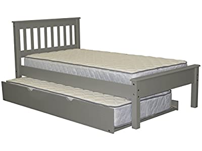 Bedz King Twin Bed Mission Style with a Twin Trundle, Gray