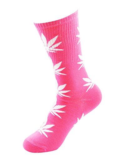 Zando Marijuana Weed Leaf Printed Cotton Colorful Sports High Crew Socks Pink White (Pink Heart Socks White)