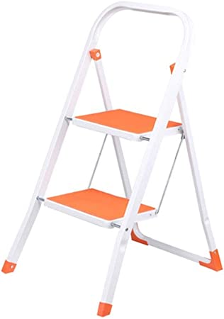 GG.S Taburete De Escalera De Metal De 2 Peldaños Plegable For El Hogar con Reposabrazos Escalera De Peldaño Acolchada Antideslizante (Color : Orange): Amazon.es: Hogar