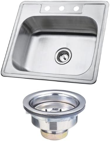 Kingston Brass KK25228BN Carefree 304 Grade Stainless Steel Self-rimming Single Bowl Kitchen Sink
