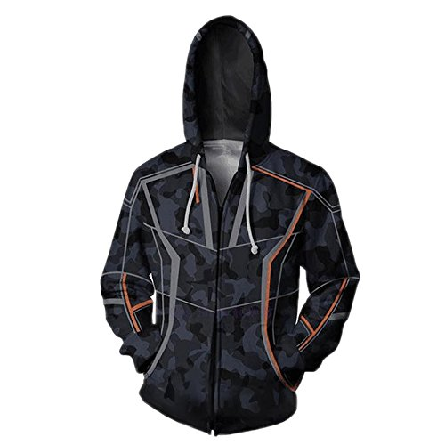 Wsysnl Clothing Cosplay Kids/Unisex Adult 3D Zipper Hooded Sweatshirt Black -