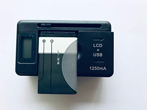 Replacement 1X Battery + 1X USB LCD Charger for BL-5C 1020 MAH 3120,3600,3620,3650,3660,6030,6108,6230,6270,6600,6630,6670,6680,6681,6682, 6820,6822,7600,7610,E50,E60,N70,N71,N72,N91,N-Gage ETC.