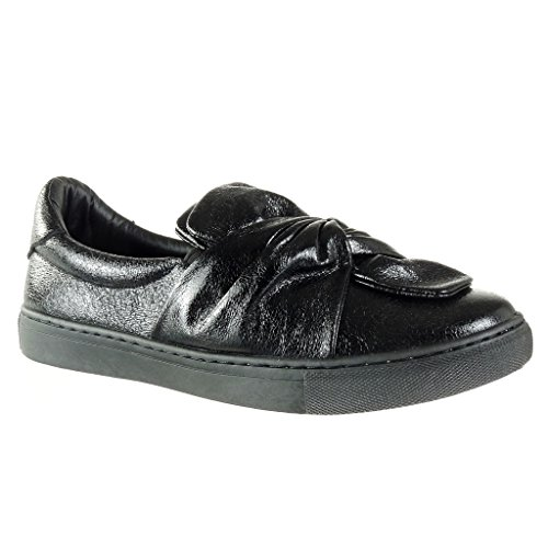 Angkorly Damen Schuhe Sneaker - Slip-On - Fliege - Glänzende Flache Ferse 2.5 cm Schwarz