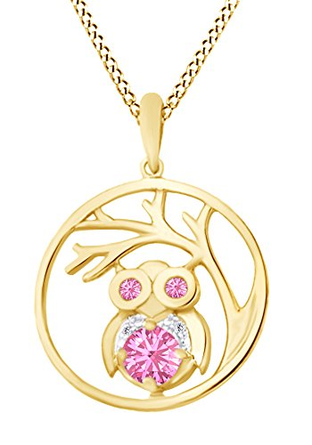 AFFY Round Cut Simulated Pink Tourmaline Stone with White Diamond Owl Tree of Life Pendant Necklace in 14K Yellow Gold Over Sterling Silver