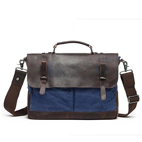 mefly con los nuevos hombres de bolso de mano bolsa de lona vintage bolsa de diagonal maletín, café azul