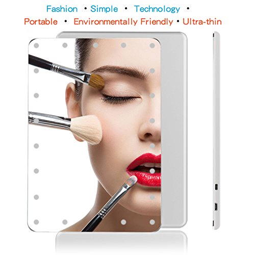 Vanity Mirror with Lights, Hollywood Makeup Vanity Mirror Compact Touch Screen Dimming 21 LEDs Lighted Makeup Mirror Portable High Definition Clarity Travel Cosmetic Mirror with Leather Case Holder