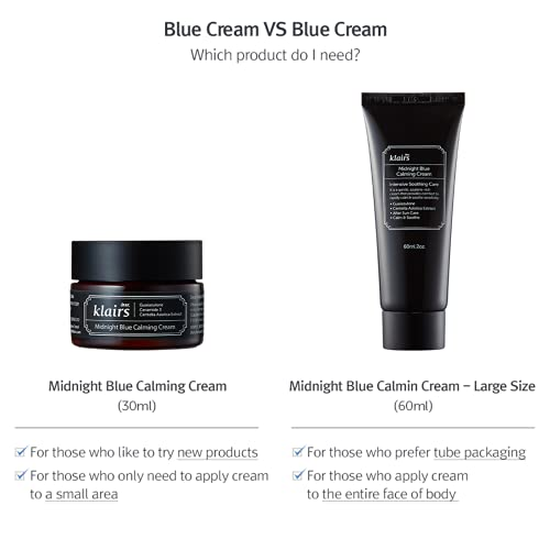 [DearKlairs] Midnight Blue Calming Cream 2 Fl Oz, For oily, troubled and sensitive skin, rapidly calm and soothe sensitivity