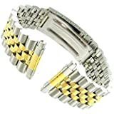 16-22mm Kreisler Rolex Type Center Clasp Metal Watch Band Silver& Gold
