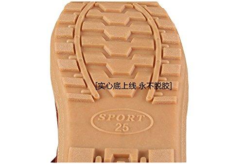 Caldo inverno in pelle scarpe di cotone soggiorno nei panni della madre anziana pacchetto con spesse pantofole di cotone uomini e donne anti-slittamento 25 impermeabile adatta (35-36 metri), Rosso