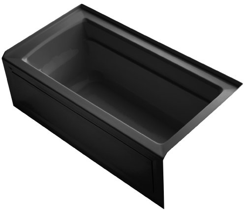 (KOHLER K-1123-RA-7 Archer 5-Foot Bath with Comfort Depth Design, Integral Apron and Right-Hand Drain, Black)