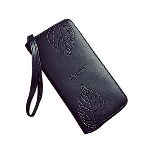 Espeedy Moda Mujer Bolso De Clutch PU Cuero Cartera Larga Tarjetas De Titular Teléfono Zip Bolsas Bolso Hojas simples bolso en relieve cartera a largo femenina negro