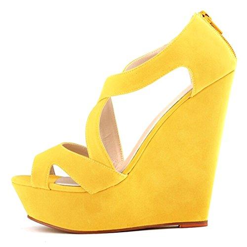 Oasap Mujer Zapatos de Cuñas Solido Multi-Correas Punta Abierta Amarillo